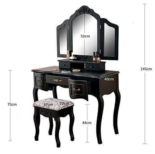 schminktisch schwarz mit spiegel jetzt modelle ansehen. Black Bedroom Furniture Sets. Home Design Ideas