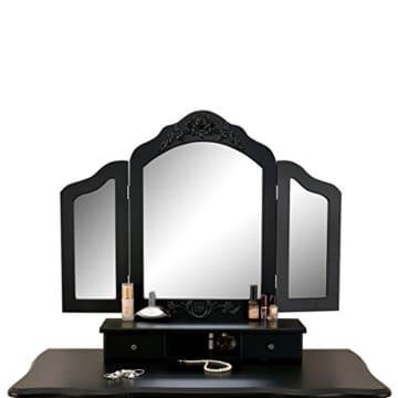 Schminktisch Schwarz mit Spiegeln